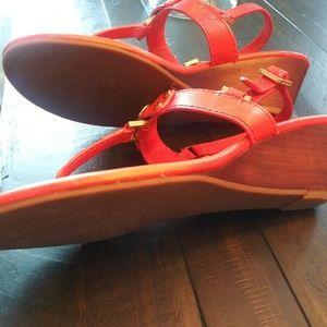 "Tory Burch Shoes - Tory Burch Orange ""Robinson Demi-Wedge Sandals"